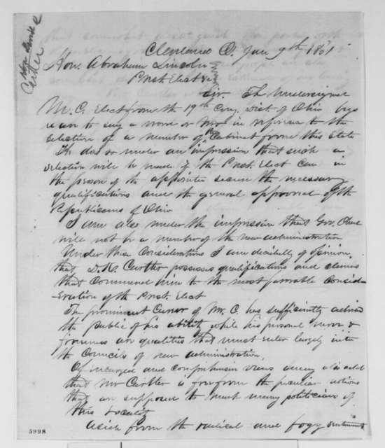 Albert G. Riddle to Abraham Lincoln, Wednesday, January 09, 1861  (Recommends D. K. Cartter for cabinet)