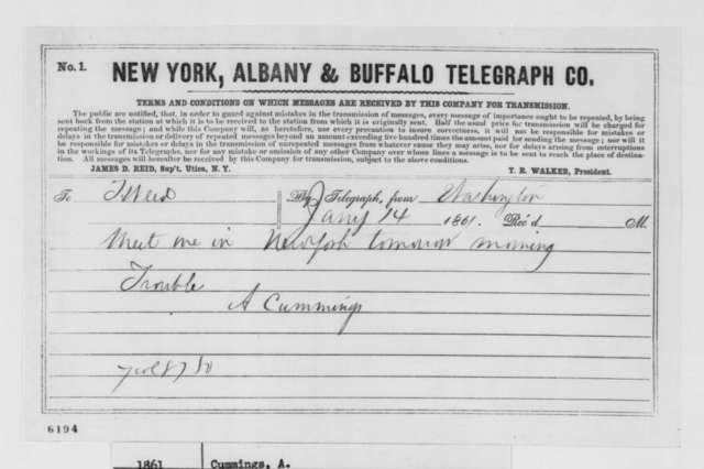 Alexander Cummings to Thurlow Weed, Monday, January 14, 1861  (Telegram)