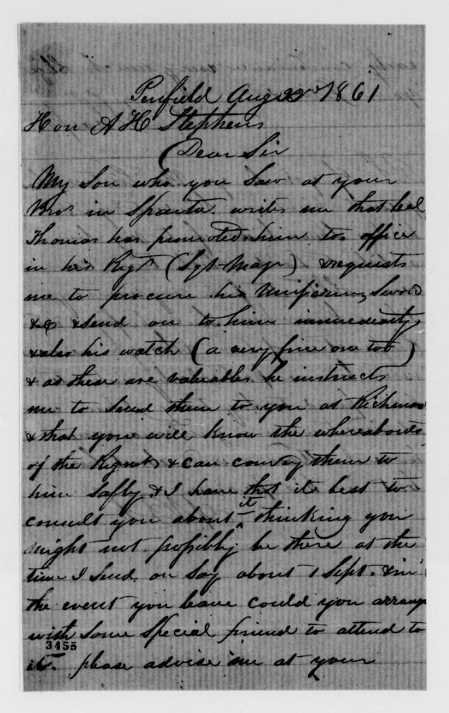 Alexander Hamilton Stephens Papers: General Correspondence, 1784-1886; 1861, Aug. 9-Sept. 3