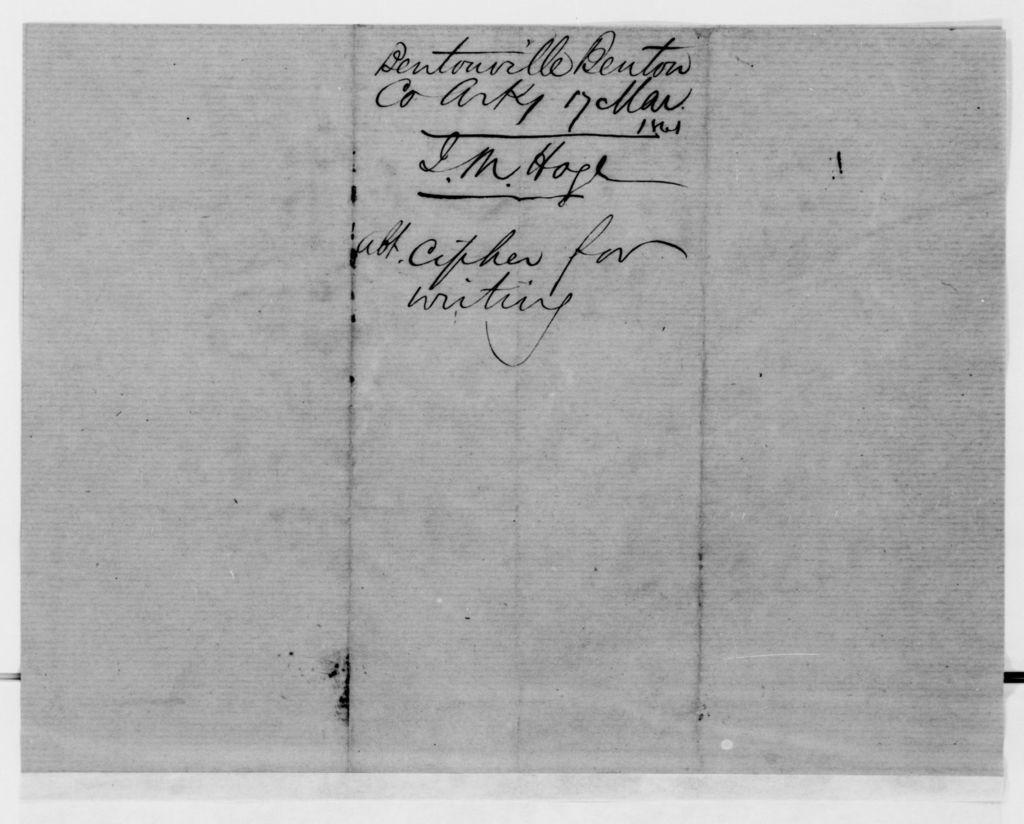 Alexander Hamilton Stephens Papers: General Correspondence, 1784-1886; 1861, Mar. 6-31
