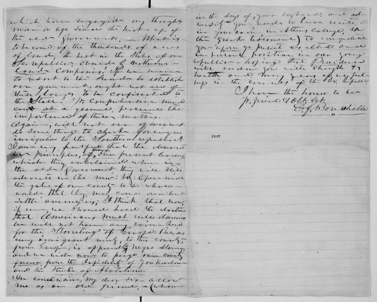 Alexander Hamilton Stephens Papers: General Correspondence, 1784-1886; 1861, Mar. 6-31