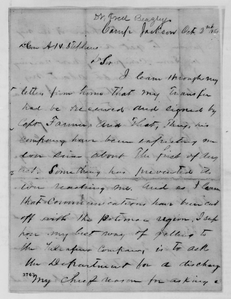 Alexander Hamilton Stephens Papers: General Correspondence, 1784-1886; 1861, Sept. 21-Oct. 19