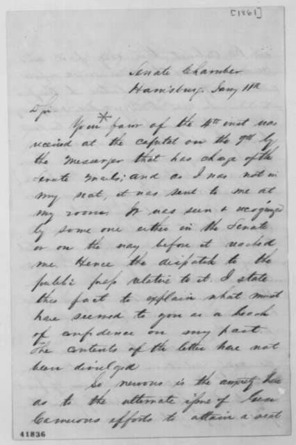 Alexander K. McClure to Abraham Lincoln, Friday, January 11, 1861  (Cabinet appointment for Simon Cameron)
