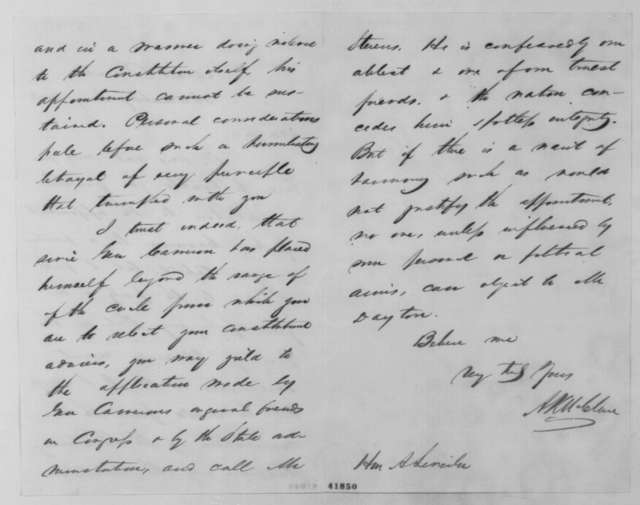 Alexander K. McClure to Abraham Lincoln, January 24 [1861]  (Opposes cabinet appointment for Cameron)
