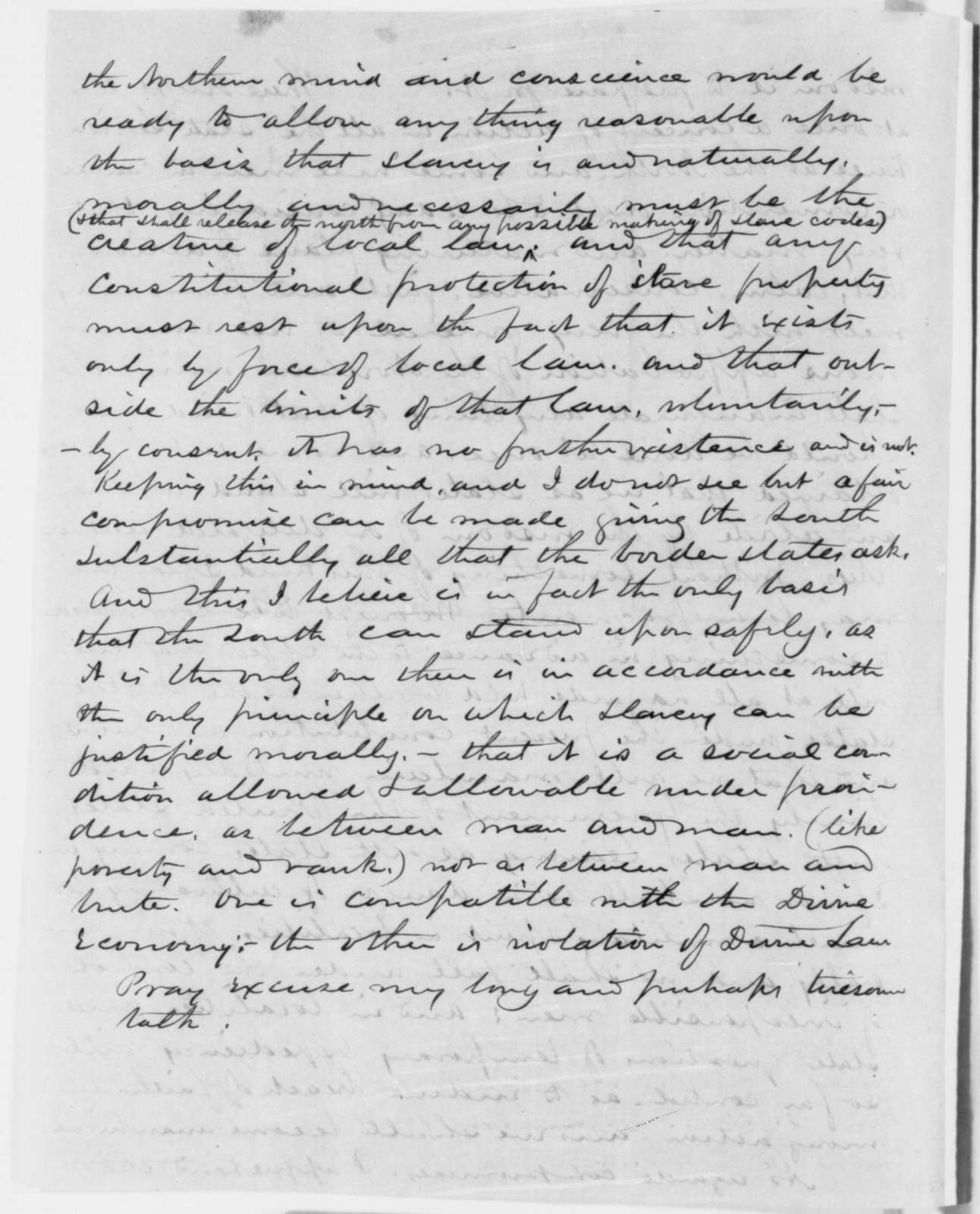Alfred B. Ely to Abraham Lincoln, Wednesday, January 16, 1861  (Cabinet appointments and secession crisis)
