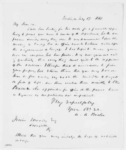 Allan A. Burton to Irvine Moody, Friday, July 19, 1861  (Returns papers)