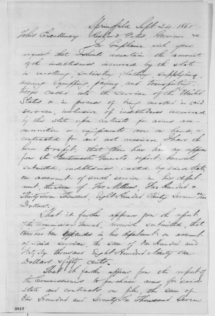 Allen C. Fuller to Richard Yates, Tuesday, September 24, 1861  (Cost of raising troops)