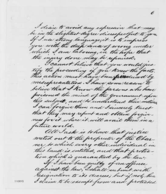 Amasa Converse to Abraham Lincoln, Wednesday, August 28, 1861  (Suppression of his newspaper)