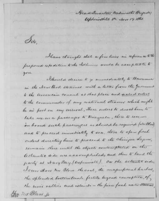 Ambrose W. Thompson to Francis P. Blair Sr., Sunday, November 17, 1861  (Chiriqui Improvement Co.; with endorsement by Blair)