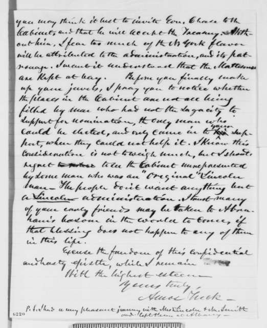 Amos Tuck to Abraham Lincoln, Monday, January 14, 1861  (Cabinet advice)