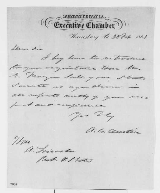 Andrew G. Curtin to Abraham Lincoln, Thursday, February 28, 1861  (Introduction)