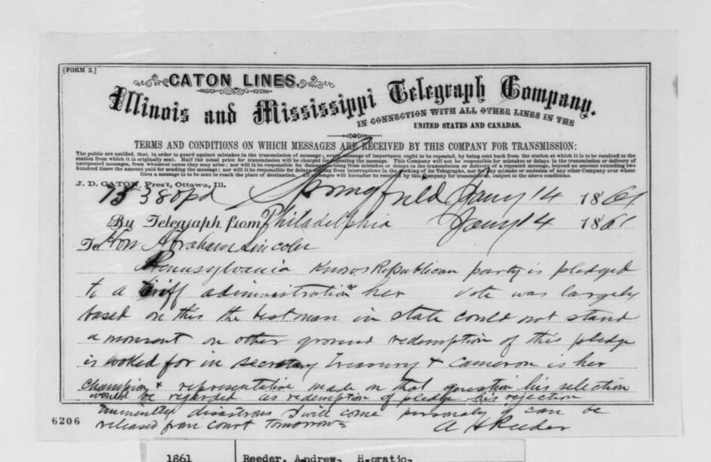 Andrew H. Reeder to Abraham Lincoln, Monday, January 14, 1861  (Telegram supporting Cameron)