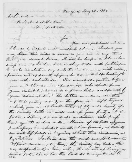 Andrew Jackson Wills to Abraham Lincoln, Monday, January 28, 1861  (Cabinet advice)
