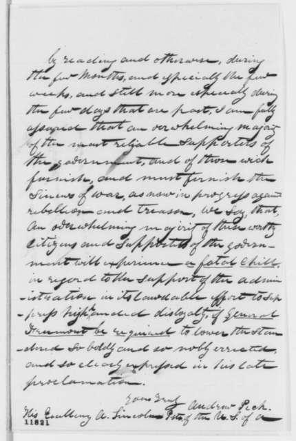 Andrew Peck to Abraham Lincoln, Thursday, September 19, 1861  (Supports Fremont)