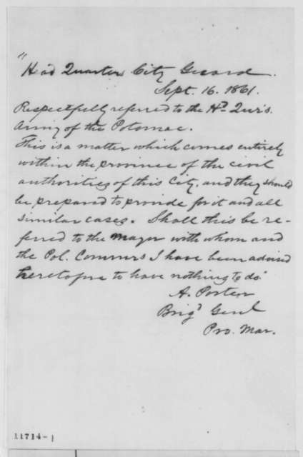 Andrew Porter to Army of Potomac Headquarters, Monday, September 16, 1861  (Authority of provost marshal in Washington)