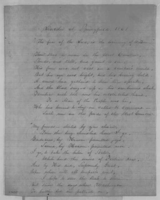 "Anna Bache,  1861  (Poem: ""Lincoln at Springfield, 1861"")"
