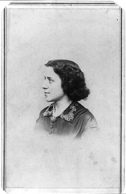 [Anna Elizabeth Dickinson, social reformer, head-and-shoulders portrait, facing left]