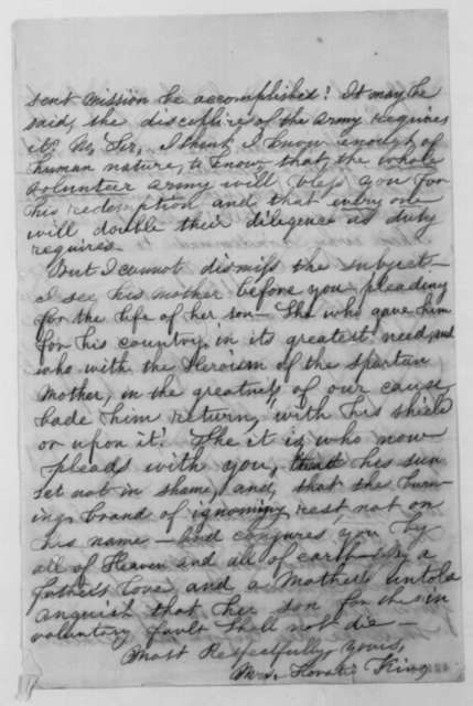 Anne C. King to Abraham Lincoln, Sunday, September 08, 1861  (Pardon for William Scott)