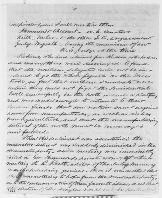 "Anonymous.  ""Buckeye"" to Abraham Lincoln, Thursday, February 07, 1861  (Southern conspiracy)"