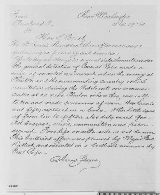 Anson Stager to Thomas T. Eckert, Thursday, December 19, 1861  (Military affairs)