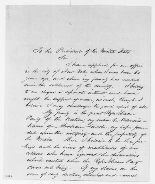 Anthony J. Bleecker to Abraham Lincoln, Saturday, March 30, 1861  (New York office seeker)
