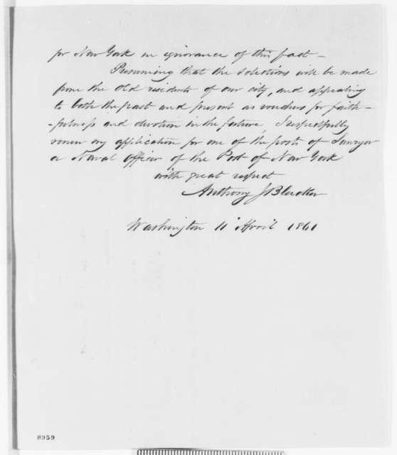 Anthony J. Bleecker to Abraham Lincoln, Thursday, April 11, 1861  (New York office seeker)
