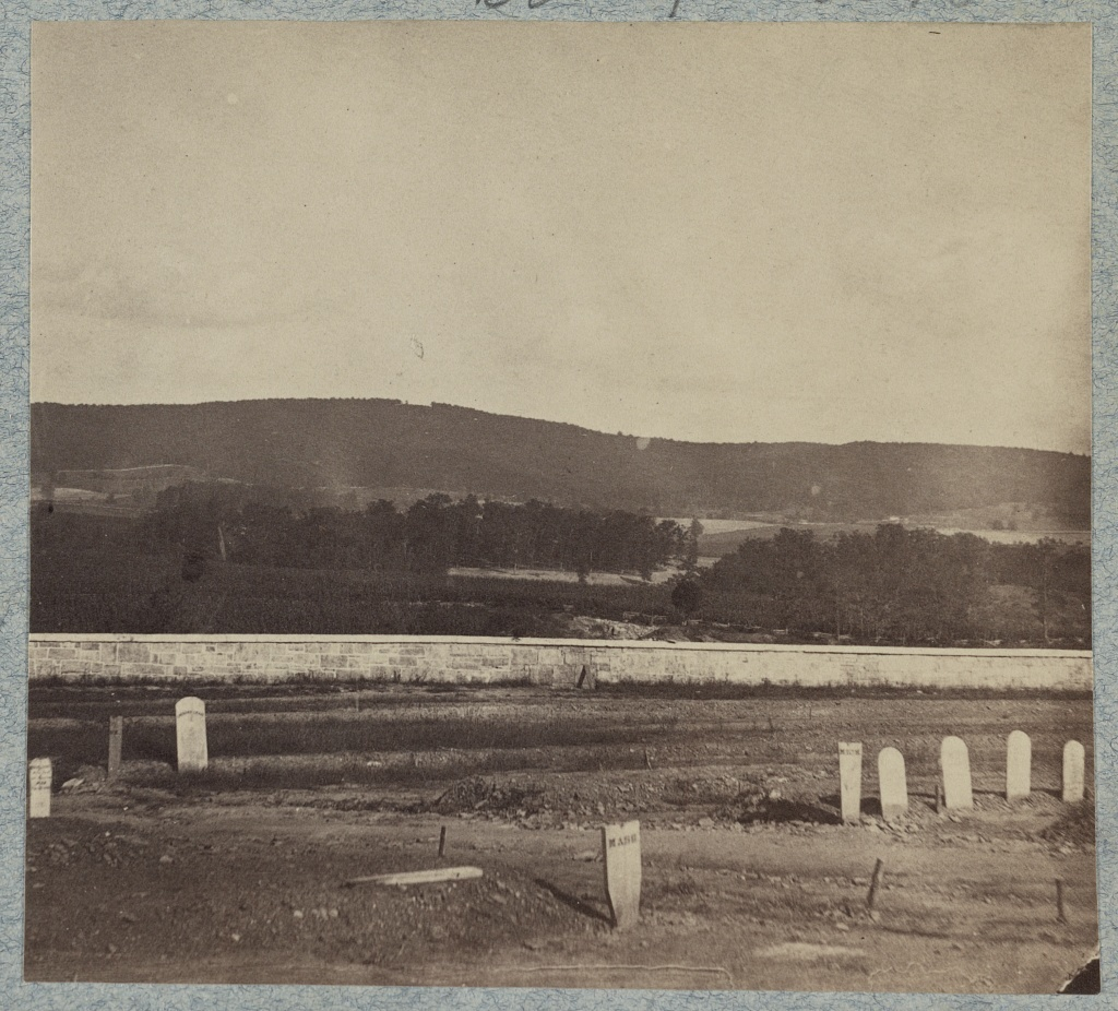Antietam Cemetery in foreground, South Mountain in background - gap shows location of Signal Station during battle. View taken after the war