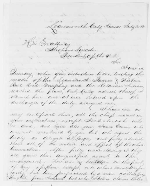 Archibald Williams to Abraham Lincoln, Tuesday, July 02, 1861  (Indian affairs in Kansas)