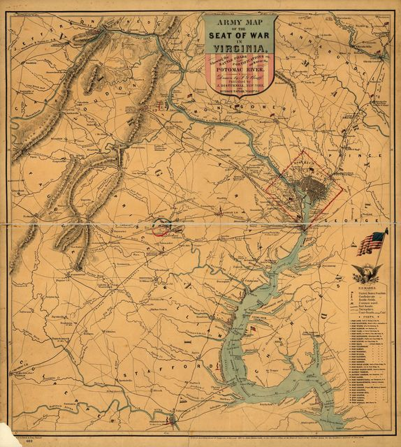 Army map of the seat of war in Virginia, showing the battle fields, fortification, etc. on & near the Potomac River