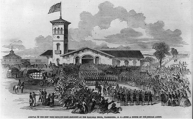 Arrival of the New York seventy-first regiment at the railroad depot, Washington, D.C. / from a sketch by our special artist.