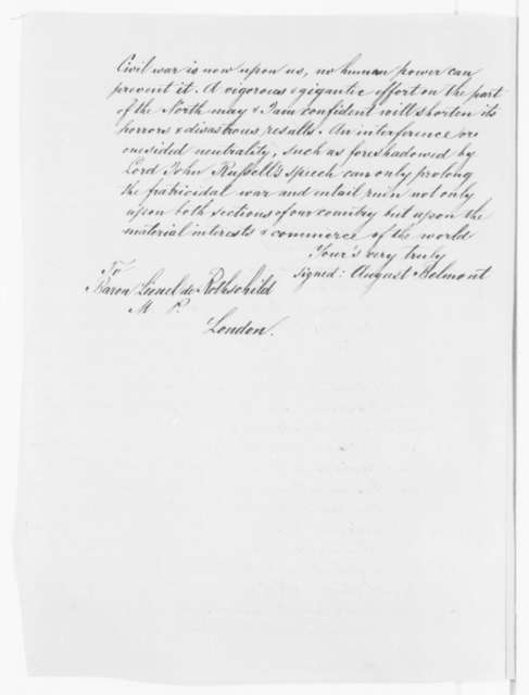 August Belmont to Lionel De Rothschild, Tuesday, May 21, 1861  (British recognition of Confederacy)