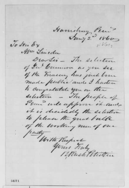 B. Rush Petrikin to Abraham Lincoln, Wednesday, January 02, 1861  (Cameron)