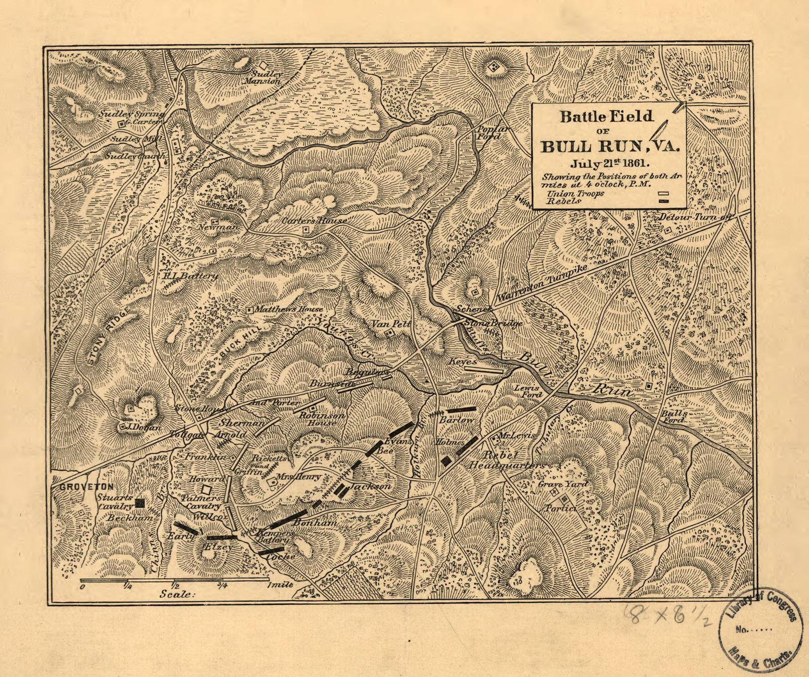 Battle field of Bull Run, Va. July 21st 1861. Showing the positions of both armies at 4 o'clock, P.M.
