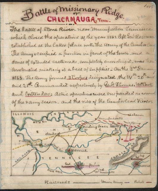 Battle of Missionary Ridge or Chickamauga, Tenn.