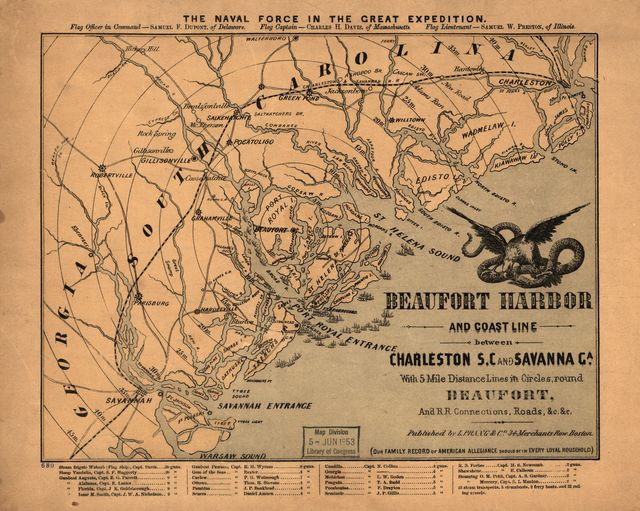 Beaufort Harbor and coast line between Charleston, S.C. and Savanna [sic] Ga., with 5 mile distance lines in circles round Beaufort, and R.R. connections, roads, &c, &c.