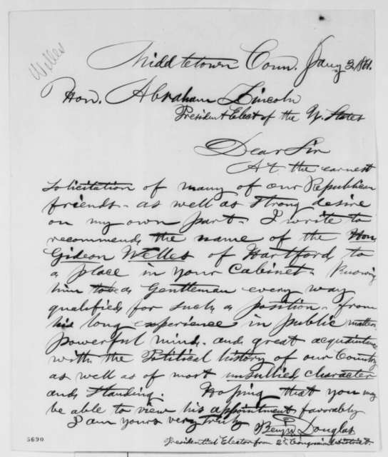 Benjamin Douglas to Abraham Lincoln, Thursday, January 03, 1861  (Recommendation for Welles)