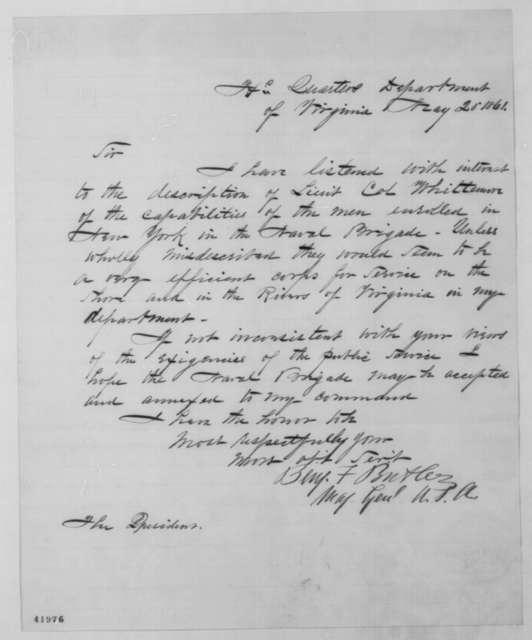 Benjamin F. Butler to Abraham Lincoln, Monday, May 20, 1861  (Naval Brigade)