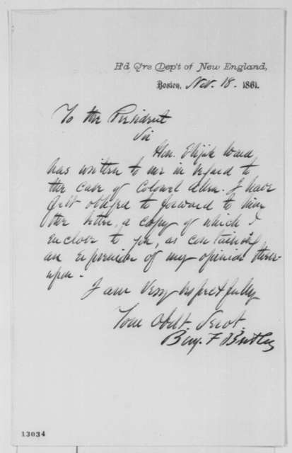 Benjamin F. Butler to Abraham Lincoln, Monday, November 18, 1861  (Cover letter)