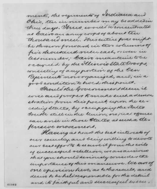 Benjamin M. Prentiss, et al. to Abraham Lincoln, Friday, May 24, 1861  (Military operations in Tennessee)