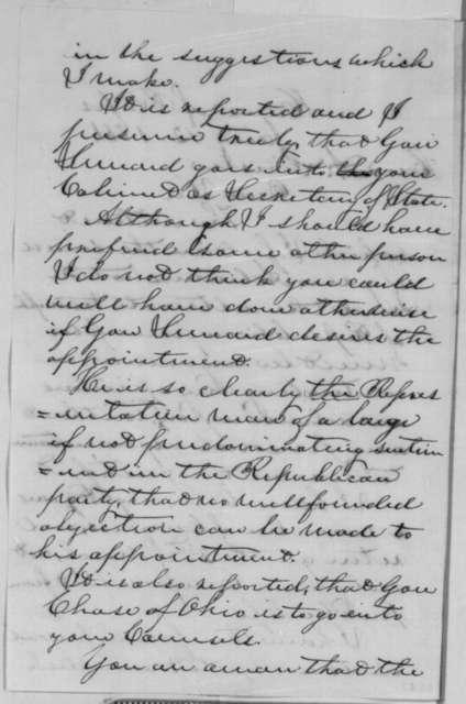 Benjamin Stanton to Abraham Lincoln, Saturday, January 12, 1861  (Cabinet advice)