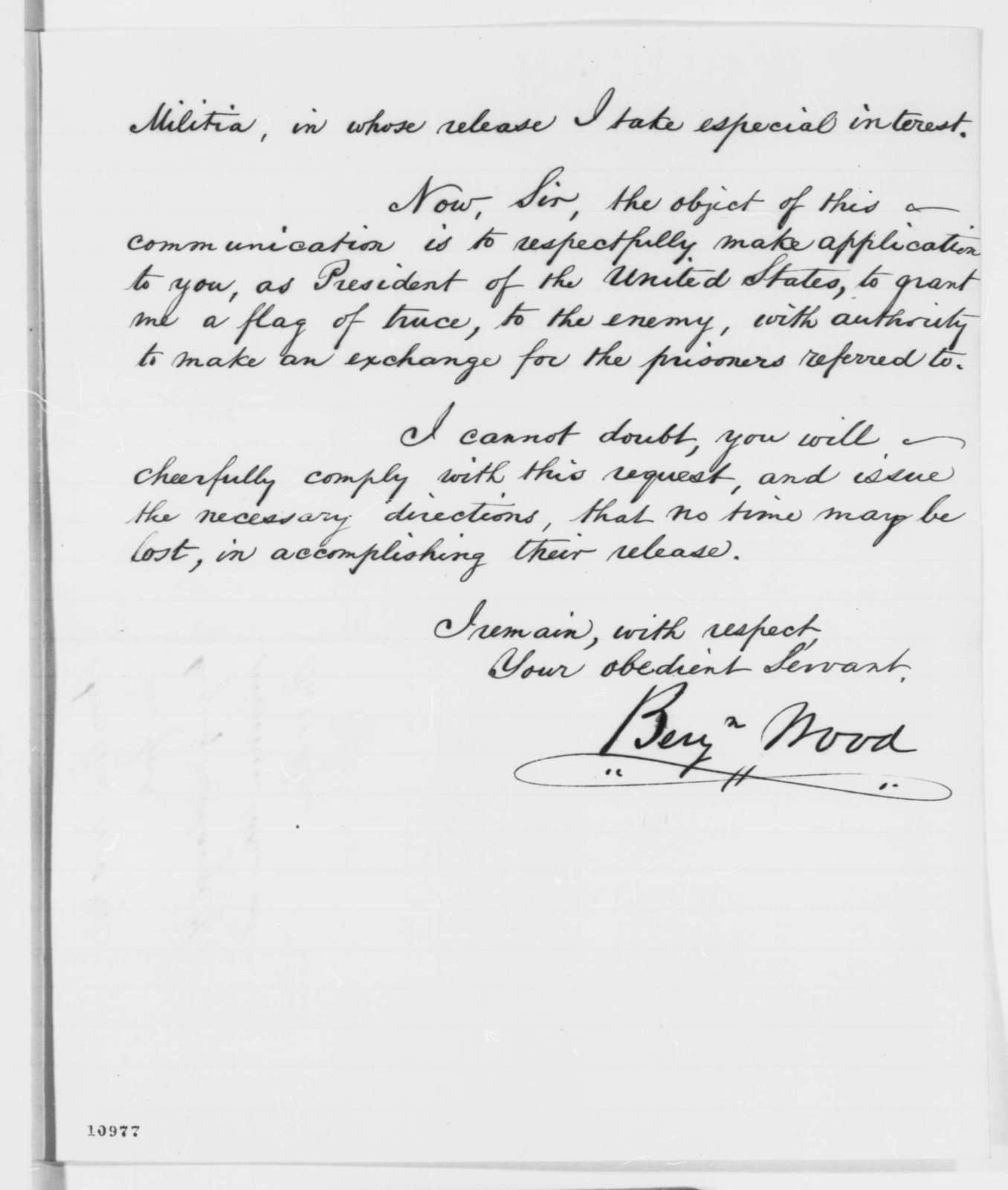 Benjamin Wood to Abraham Lincoln, Thursday, August 01, 1861  (Wants permission to exchange prisoners)