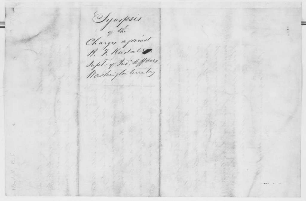 Bion Freeman Kendall, September-December 1861  (Charges against him as Superintendent of Indian Affairs, Washington Territory)