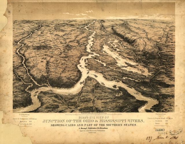 Bird's eye view of junction of the Ohio & Mississippi Rivers, showing Cairo and part of the southern states