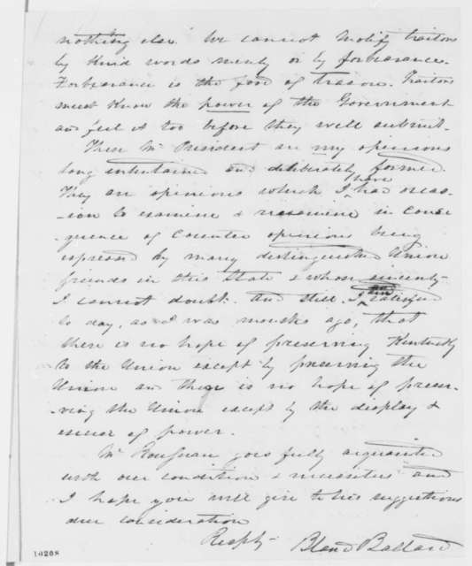 Bland W. Ballard to Abraham Lincoln, Friday, June 07, 1861  (Introduction and report on situation in Kentucky)