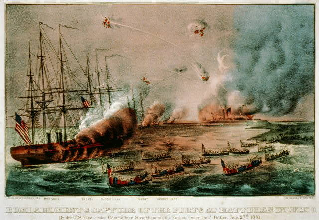 Bombardment & capture of the Forts at Hatteras Inlet, N.C.: by the U.S. Fleet under Commodore Stringham and the forces under Genl. Butler. Aug. 27th 1861