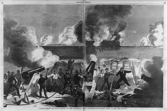Bombardment of Fort Sumter by the batteries of the Confederate states
