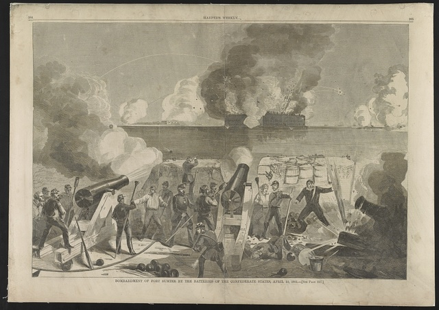 Bombardment of Fort Sumter by the batteries of the Confederate states, April 13, 1861