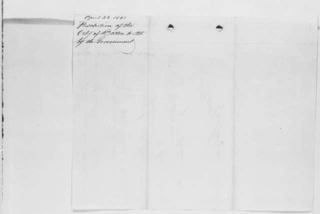 Boston Board of Aldermen, Monday, April 22, 1861  (Resolutions of support)