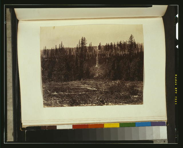 Boundary line cut with cairn at Kishenchn, looking west, 1861
