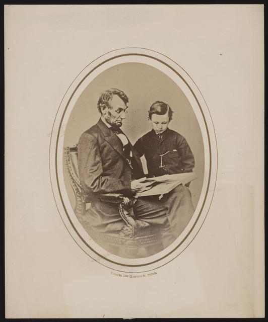 "[Brady portrait of Abraham Lincoln & ""Tad"" published by Richards.]"